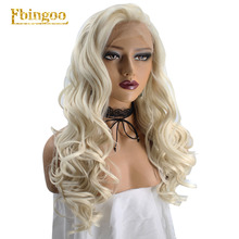 Ebingoo Platinum Blonde Synthetic Lace Front Wig High Temperature Fiber Perruque Free Part Natural Long Wavy For Women