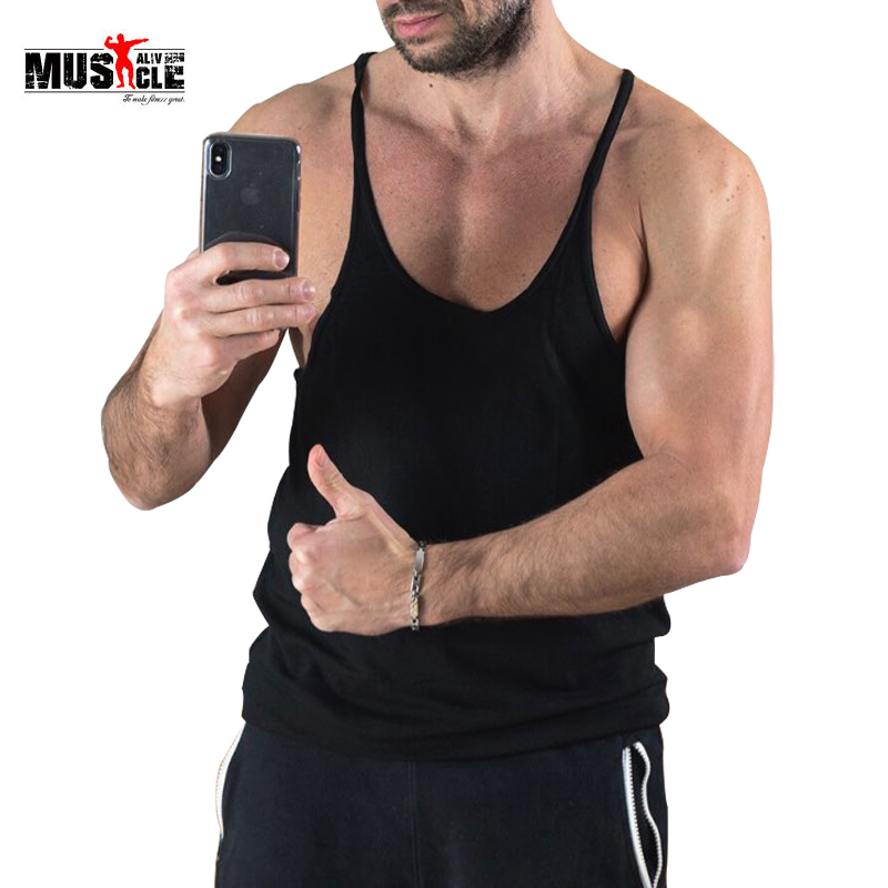 MUSCLE ALIVE Brand Clothing Men Bodybuilding Tank Top Fitness Male Vests Workout For Body Sleeveless Cotton Spandex Solid Casual