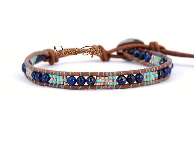 Mixed Selected Gl Beads With Natural Lapis Single Wrap Bracelet Seed Bohemia Wholer In Bracelets From Jewelry Accessories