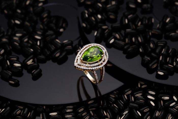Новое поступление Торговля 14k желтое золото Перидот кольцо,, мода