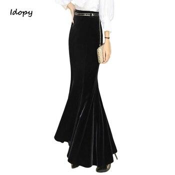 Idopy zaokrąglony damska długi długie spódnice eleganckie aksamitne Flouncing Fishtail syrenka Ruffles Jeans spódnice dla Lady Plus rozmiar 5XL