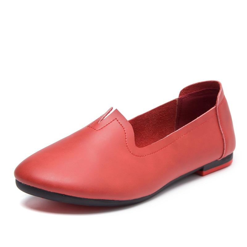 rosso Casual Shoes Round arrivo Lady Beige Handmade grigio Heels Fujin arancione Nuovo darkgreen Platform Toe Leather Women Flats nero Genuine 2019 bianco XRq6Aw