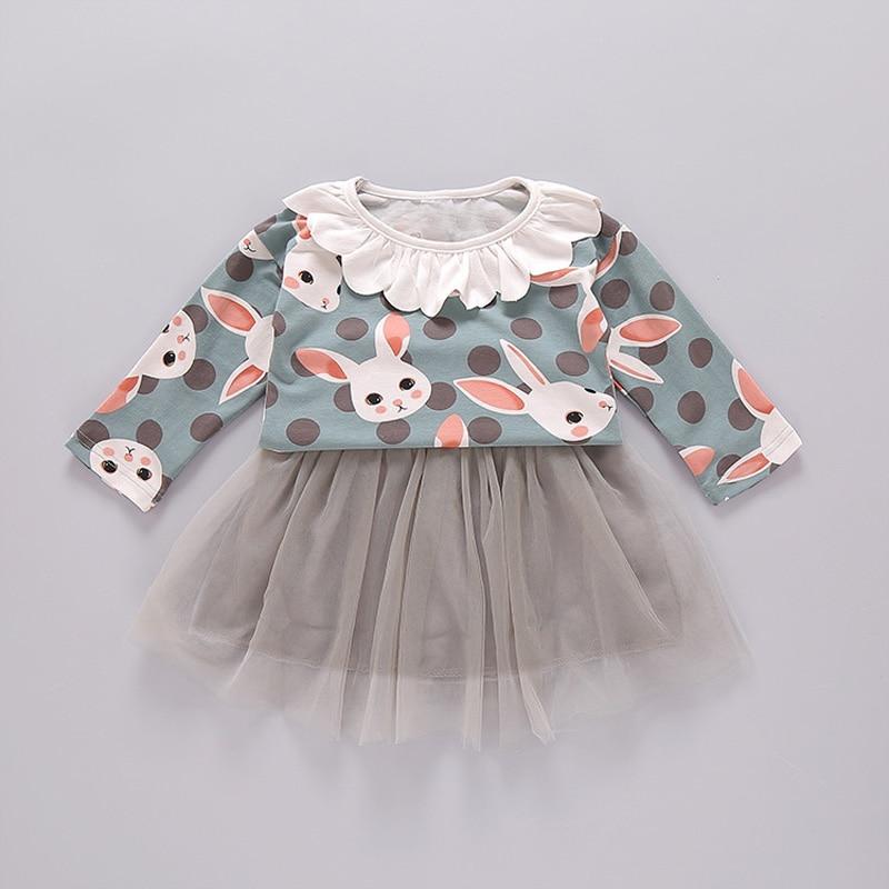 Autumn Baby Girsl Long Sleeve Cartoon Rabbit Tops T shirt Blouse Mesh Tutu Skirt Princess Party