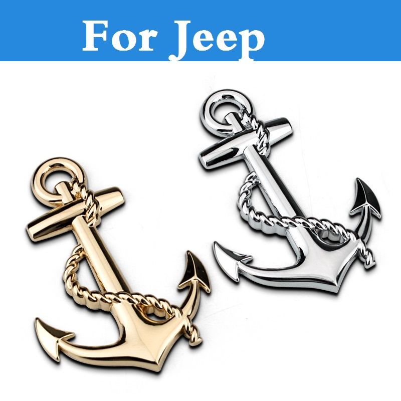 2017 car styling Chrome Metal Boat Anchor Logo Car Stickers Emblems Decoration For font b Jeep