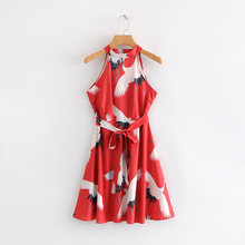 5f90a25080a 2019 women sweet crane print hang on neck sashes sleeveless dress ladies  casual slim party vestidos chic a line dresses DS1805