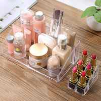 1 pçs caixa de cosméticos de cristal organizador de maquiagem jóias de armazenamento batom make-up escova titular expositor caixa de acrílico caso rack