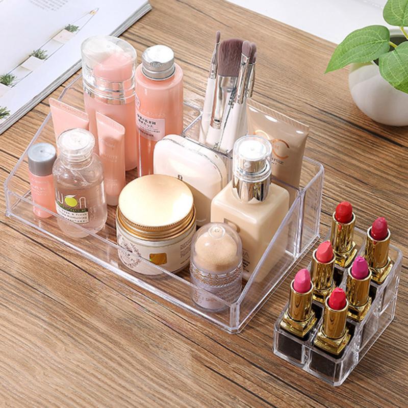 1pcs Crystal Cosmetic Box Organizer Makeup Jewelry Storage Lipstick Make-up Brush Holder Display Box Acrylic Case Stand Rack