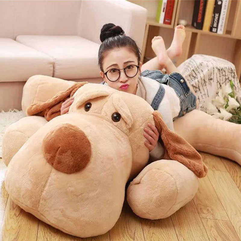 Plush Dog 140cm Kawaii Soft Animal Lovely Oversize Dog Cute Pap Stuffed Pusher Pillow Pants Porcelain Toys Bouquet Doll the porcelain dog