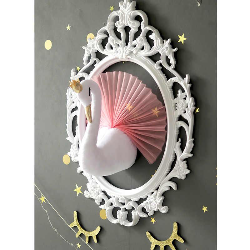 Łabędź wypchane zwierzęta tkaniny lalki zabawki dziewczyny dziecko wystrój żłobka 3D głowa zwierzęcia ściany wiszące na pokój dziecięcy Flamingo dekoracja prezent