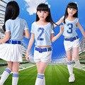 New Custom La - La - La Cheerleading camisa roupas aeróbica trajes mostrar roupas Cheerleader LABS camisa de futebol criança roupas