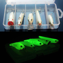 Night Fishing Lure Bait Kit Luminous VIB Popper Crank Minnow Pencil Glow Artificial Lures 5 Pieces Set With Lure Box
