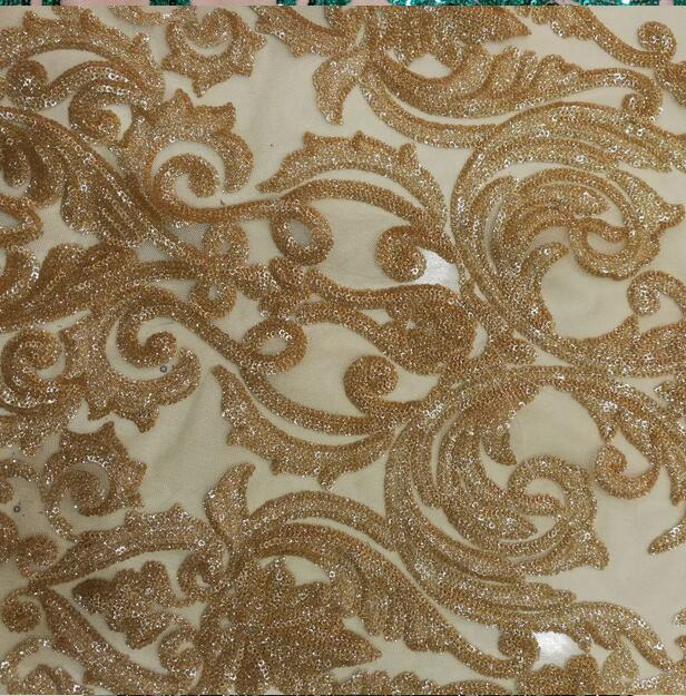 French Lace Fabric High Quality African gold Sequins Lace Fabric Fashion Nigerian Party For African Sewing