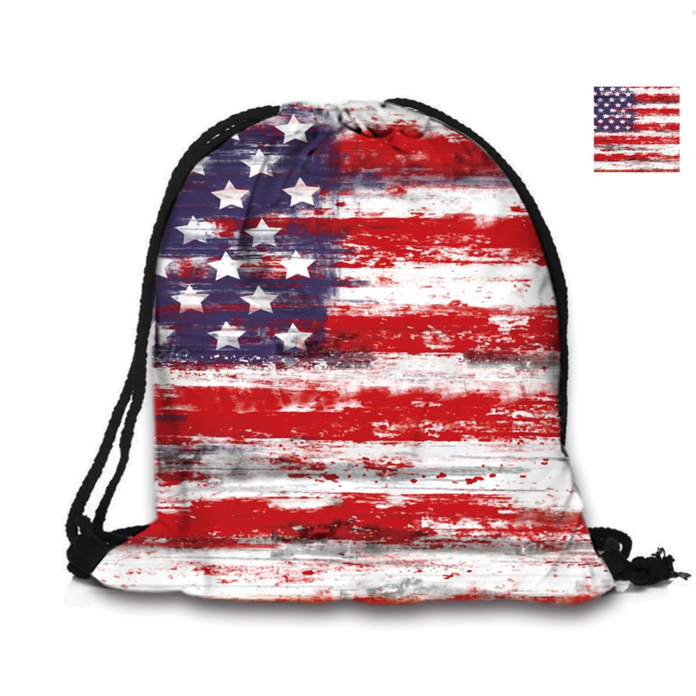 Amerikiečių vėliava spausdinimo raišteliu kuprinė paplūdimio mokyklai Pirkiniai Moterys Vyrai naudojo peties maišelį