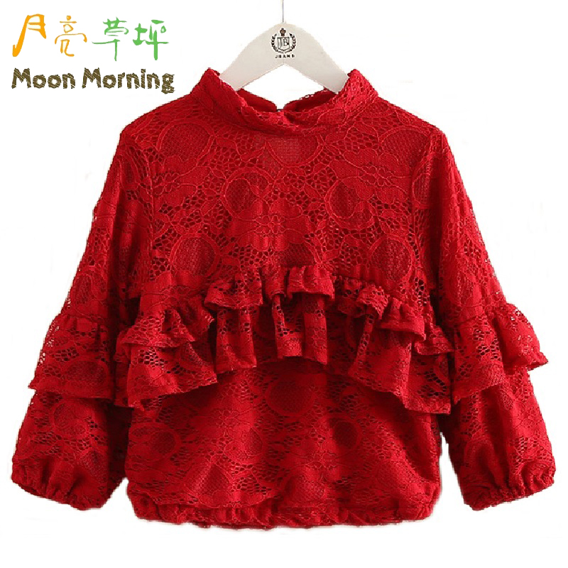 Moon Morning Girls Shirts Lace Ruffles Frill 3T~12T Children Blouse Winter Spandex New Long Sleeve Autumn Red Solid Kids Clothes