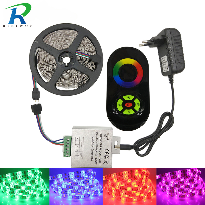 5050 RGB LED Strip Light 5M 30LEDS/M SMD Diode Tape Flexible Led Ribbon With Remote Controller DC 12V Power Adapter Strip Kit