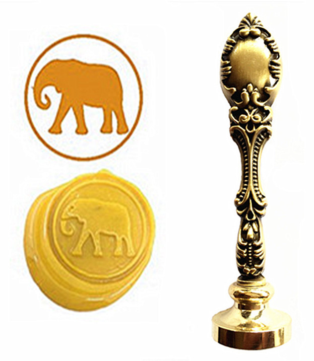 Cute Elephant Custom Logo Luxury Vintage Wax Seal Stamps Kit Wedding Invitation Sealing Stamps  Gift 1 design laser cut white elegant pattern west cowboy style vintage wedding invitations card kit blank paper printing invitation