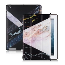 цена Marble Style Magnetic Flip Soft Black Cover For iPad 2 3 4 Air Air2 Mini 1 2 3 4 Trifold Tablet Case for New iPad 9.7 Pro 10.5