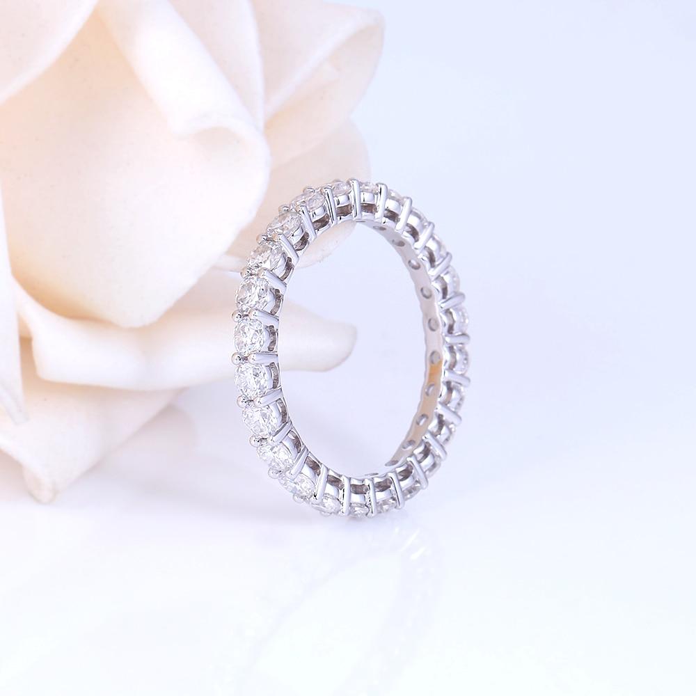 TransGems 14K 585 White Gold 1.2CTW to 1.8CTW 2.5mm F Color Moissanite Full Eternity Wedding Band for Women Gift Dailywear ring