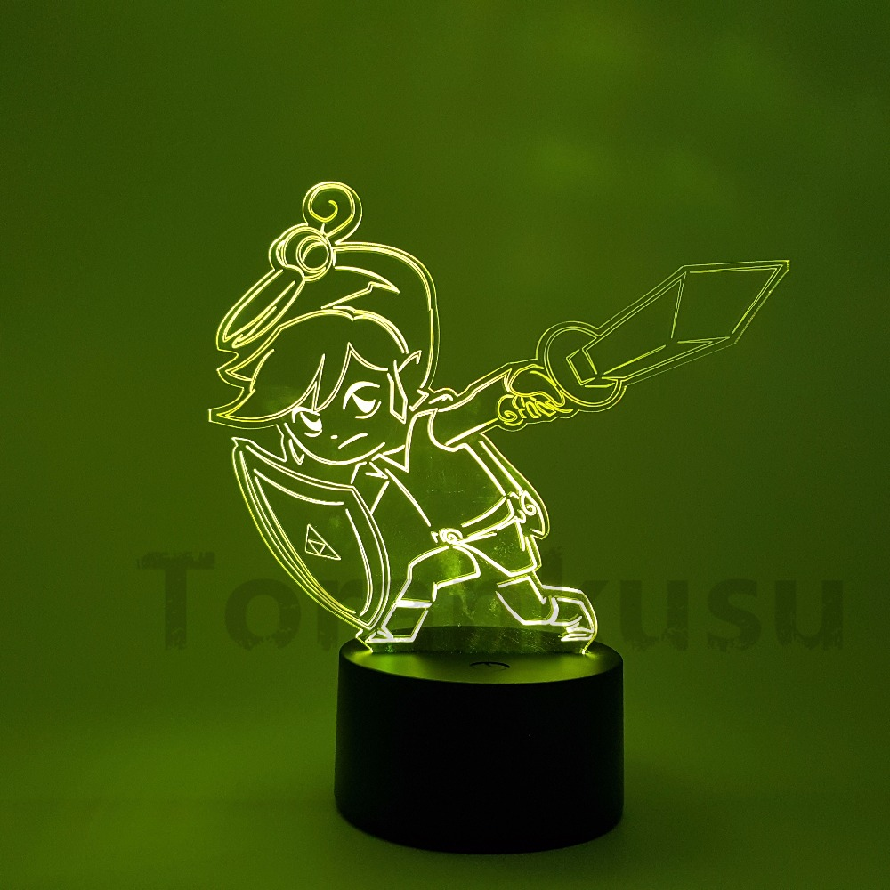 The Legend of Zelda LED 3D Nightlight Color Changing Link Action Figure Anime Game Breath of the Wild Visual Illusion Led