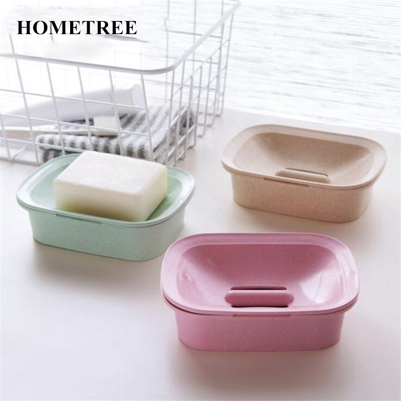 HOMETREE Nordic double layer Soap Dish Case Holder Wash Wheat Straw Material Shower Home Bathroom Accessories Set Soap Dish H52