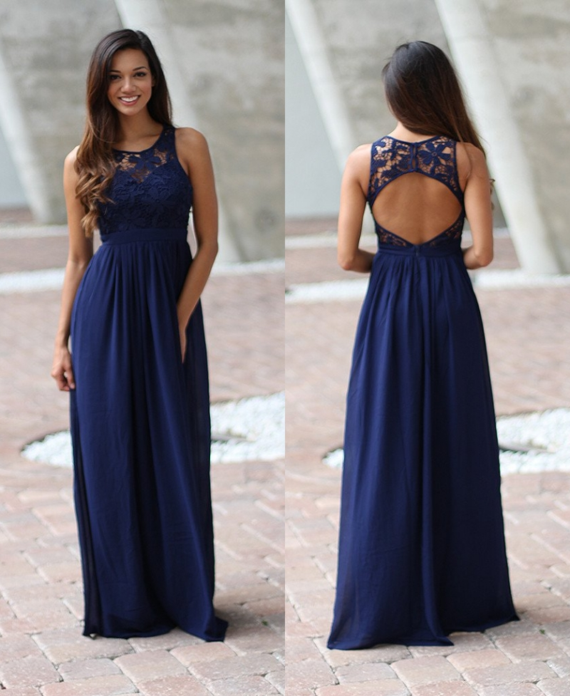 Navy Blue Lace Chiffon Summer   Bridesmaid     Dresses   Long Sleeveless Jewel Neck Open Back A-line Floor Length Maids of Honor   Dress