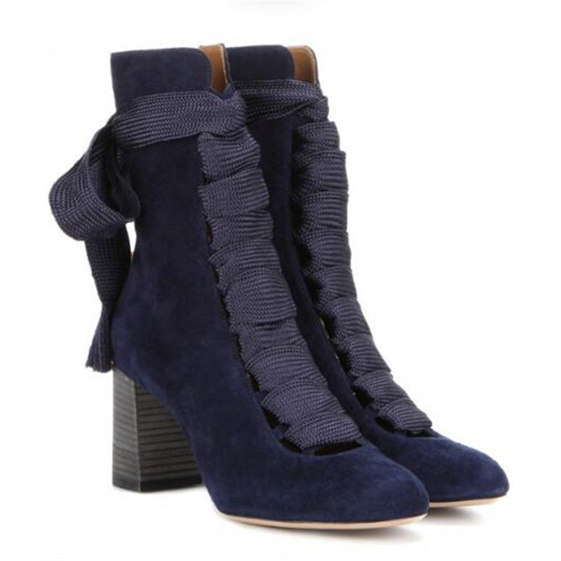 Autumn Winter Cross-tied Leather High-heeled Bottes Femelles Black Round Toe Walkway Casual Botas Mujer Cut-out Women Boots ankle black solid cross tied winter martain boots zipper design suede british style botas femeninas walkway casual shoes women