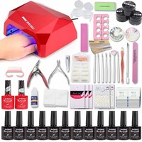 Jewhiteny 36/48W UV LED Lamp Nail Set 12 color acrylic nail kits uv extension gel kit super multi nail manicure tools sets kit