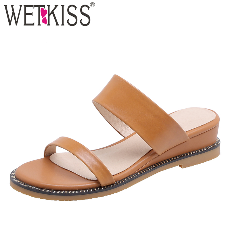 WETKISS Wedges Slippers Women Summer New Slides Shoes Cow Leather Mules Shoes Female Metal Decoration Fashion Casual Shoes LadyWETKISS Wedges Slippers Women Summer New Slides Shoes Cow Leather Mules Shoes Female Metal Decoration Fashion Casual Shoes Lady