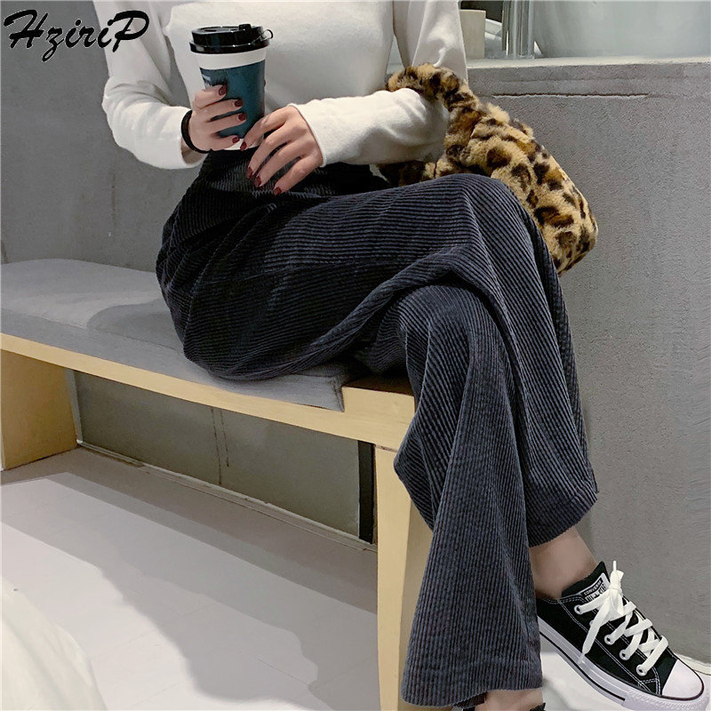 HziriP Korean   Pants   Casual   Wide     Leg     Pants   Elastic 2019 Fashion Loose High Waist High Quality Flat Straight Solid Fresh Trousers