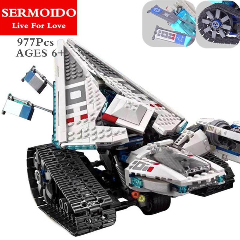 SERMOIDO 977pcs Ninja ICE TANK Building Blocks Compatible With 70616 Brick Toy B76 977pcs lepin ninja 06061 ice tank model