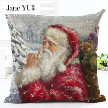 JaneYU 21 colors High Qulity Christmas Pillow Covers for Comfortable Santa Claus Printed Pillowcases