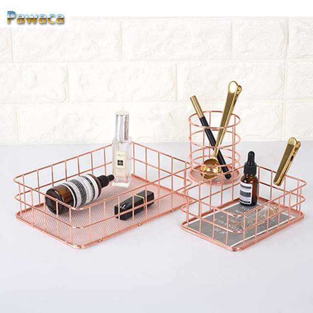 Storage Basket Copper Wire Bathroom Kitchen Shelves Makeup Organiser Rose Gold Holder Wire Mesh Toiletries Collection Basket