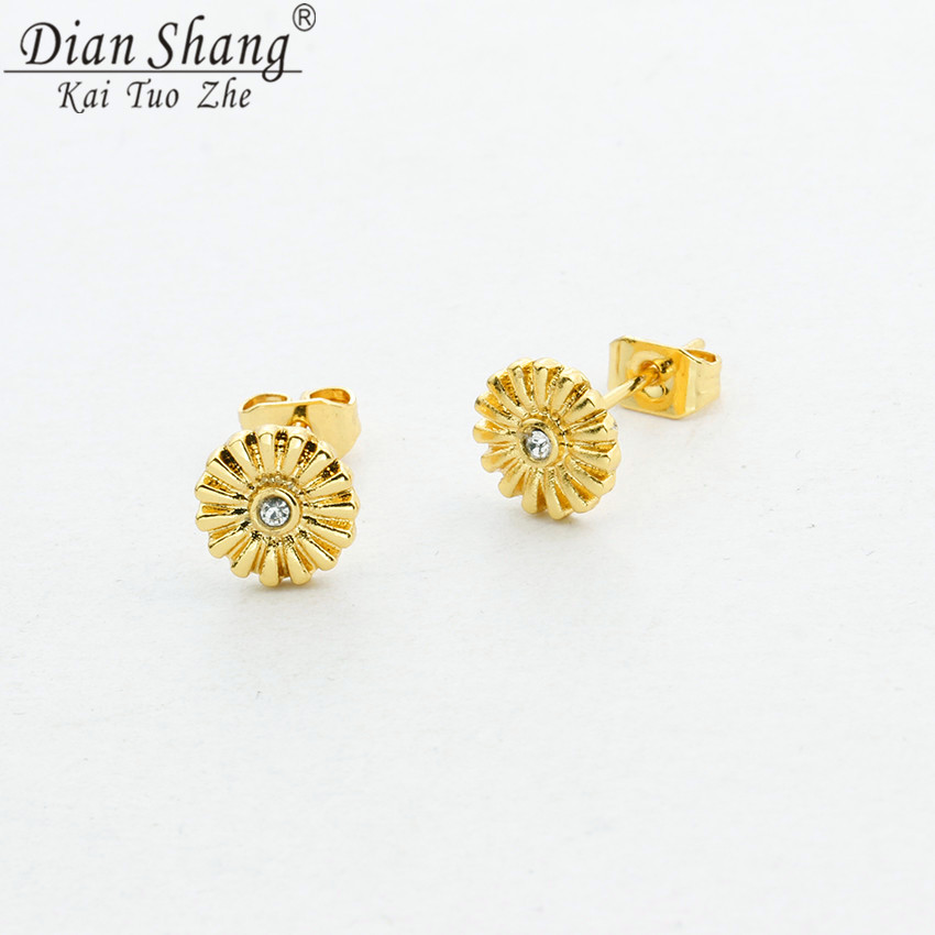 DIANSHANGKAITUOZHE Vintage Plant Flower Stud Earrings Women Daily Jewelery Mom Gift Mosaic CZ Classic Beauty Pendientes Bijoux