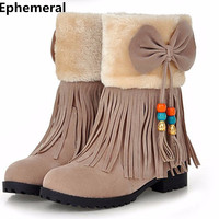 Ladies Chinese Style Bow Tassel Cmfort Fur Ankle Booty Big Size 34 43 Nubuck Leather Round