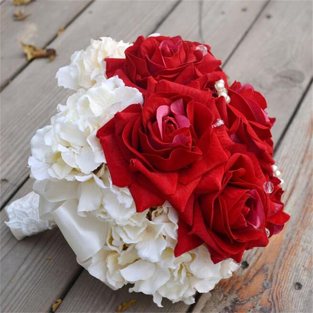 Fashion Wedding Brides Bridal Bouquet Red And White Chrysanthemum