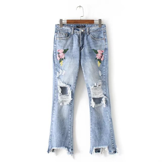Vintage flower embroidery jeans female Pockets hole ripped jeans women bottom Light blue casual pants capris summer 2017 women jeans vintage flower embroidery high waist pocket straight jeans female bottom light blue hole casual pants capris new