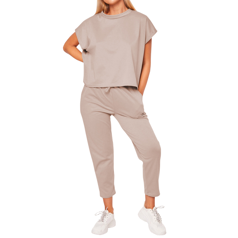 Casual Streetwear Sets Spring Summer Women Two Pieces Sets Outfits Pockets Drawstring Pants Short Tops 2 Pieces Tracksuits M0475