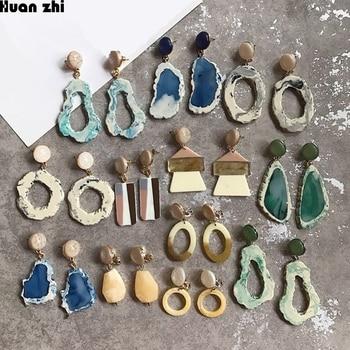 HUANZHI дизайн геометрический нерегулярные мрамор узор камень Sice смолы длинные падение ацетатная серьга для женщин вечерние девочек партия ЮВ...