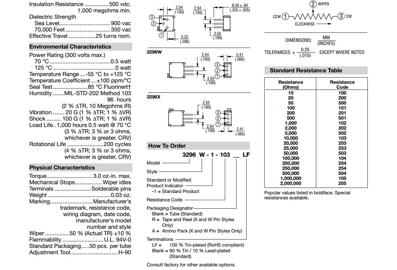 10 шт. 3296 потенциометра Комплект высокой точности 3296 Вт переменный резистор 100R-1 м 200R 500R 1 к 2 к 5 к 10 к 20 к 50 к 100 к 200 к 500 к