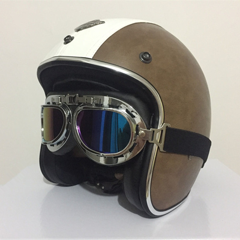 New arrival brand KCO motorcycle helmet Vintage scooter helmet Retro PU leather open face helmet Motocicleta cascos with goggles