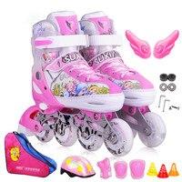 Детей на роликовых коньках обувь улице кисти катание Профессиональный Регулируемый PU колеса Patines защитный костюм для детей IA94