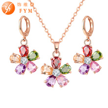 FYM Luxury bridal wedding jewelry sets for women Fashion Rose Gold Color Colorful CZ  flower Necklace Earrings jewelry set new multicolor flower cz wedding jewelry set for women rose gold color link chain slide pendant earrings necklace jewelry sets