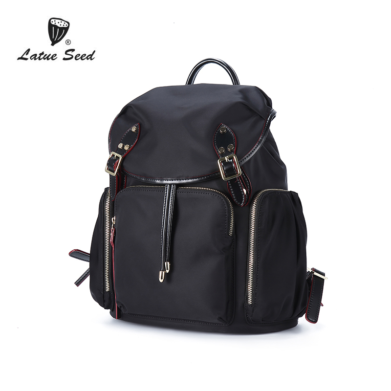 Latue Seed Oxford Backpack Women 2018 New Solid Wild Tide zipper Cloth Casual Ladies Fashion Backpack Black 904-643D-B