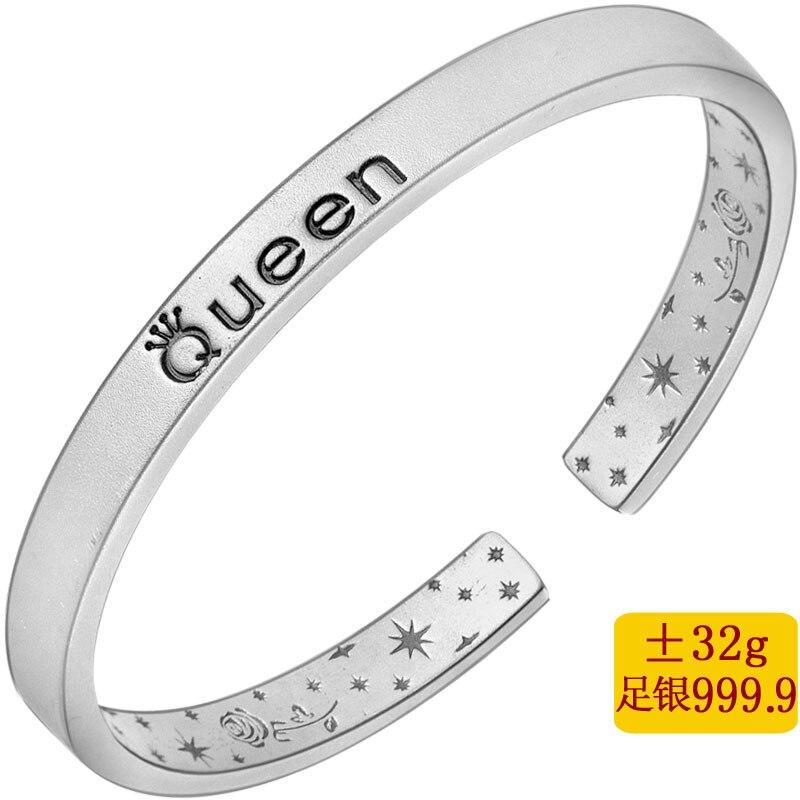Queen fine silver 999.9 sterling silver bracelet contracted fashion bracelets ancient silver braceletQueen fine silver 999.9 sterling silver bracelet contracted fashion bracelets ancient silver bracelet