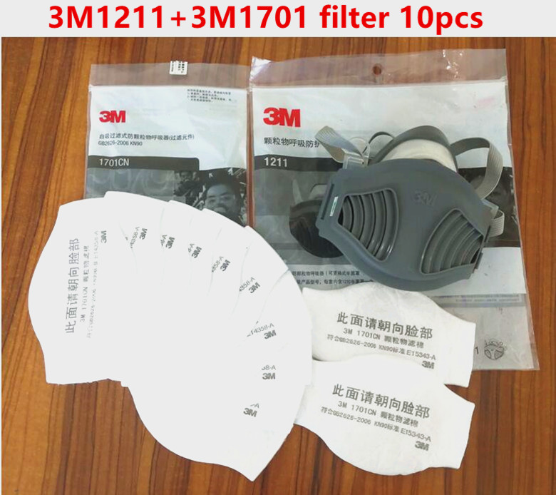3m 1211 Mask+3m 1701 Filter Gas Mask Prevent Dust Suitable For Industrial Truction Dust Pollen Haze Free Shiping