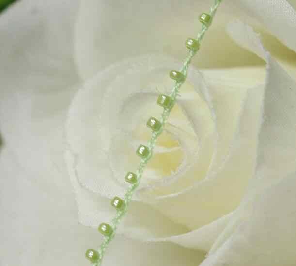 1M תחרה קריסטל חרוזים ירוק פאייטים בד חרוזים לקצץ סרט תפירת DIY Applique צווארון כבל תחרת שמלת קישוט YU26