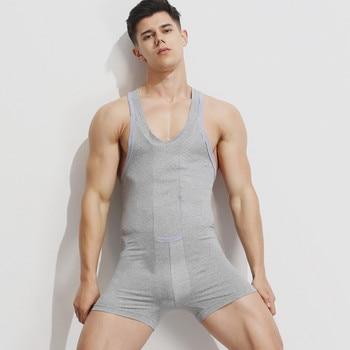 Marka mężczyzna podkoszulek podkoszulek seksowna bielizna bawełniana mężczyźni tank tops mężczyźni bodysuit jumpsuit szorty mężczyźni odzież na noc