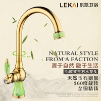 Single Style Marble Dishes Basin Faucet Kitchen European Jade Hot And Cold Faucet Gold Plated Faucet