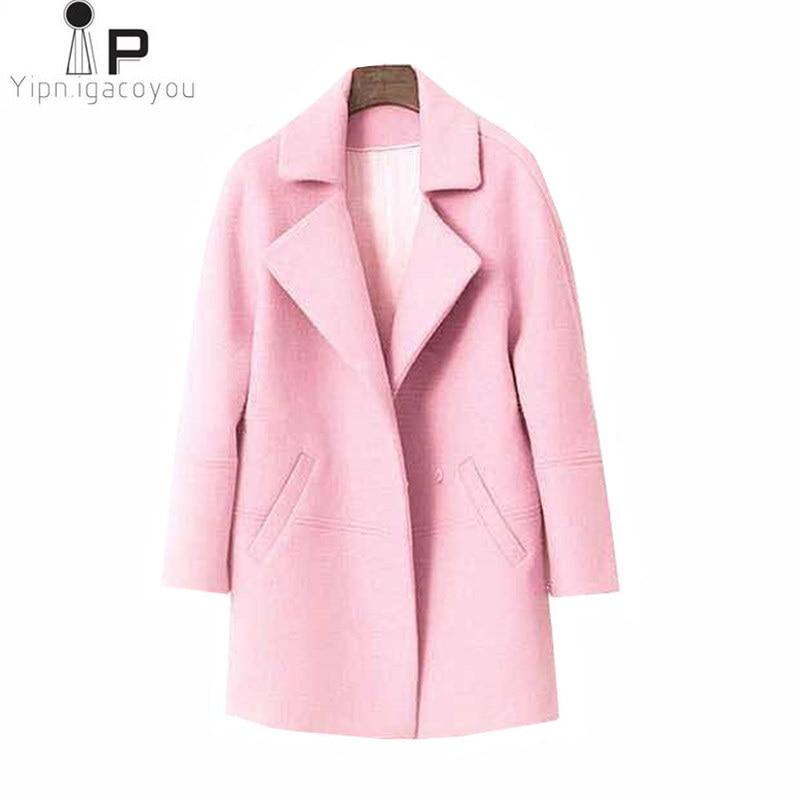 High Quality Long Warm Faux Wool Jacket Women Overcoat Autumn 2019 Harajuku Plus Size Pink Black