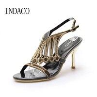 Cuoio Tacchi Alti Sandali Donne di Estate Calza Oro Argento Elegante Strass Scarpe col tacco alto di Grandi Dimensioni 44 Chaussure Femme